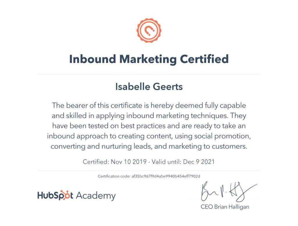 Inbound marketing_certificate_Isabelle Geerts