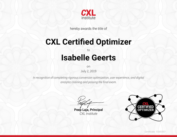 Certificaat CXL Certified Optimizer