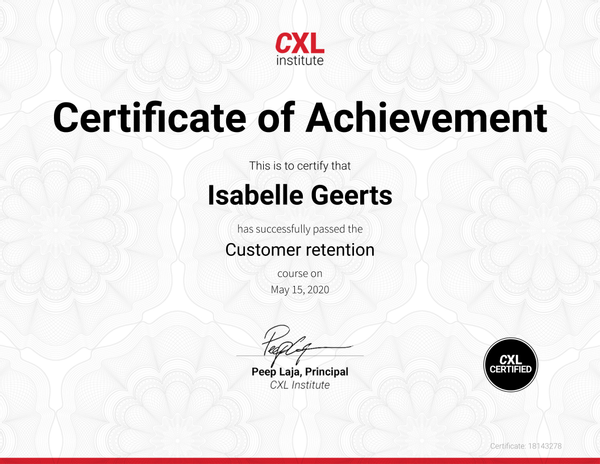 Certificaat Customer Retention