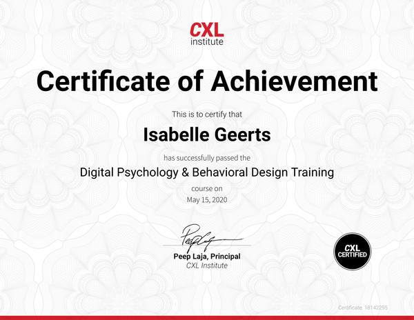 Certificaat Digital Psychology & Behavioral Design