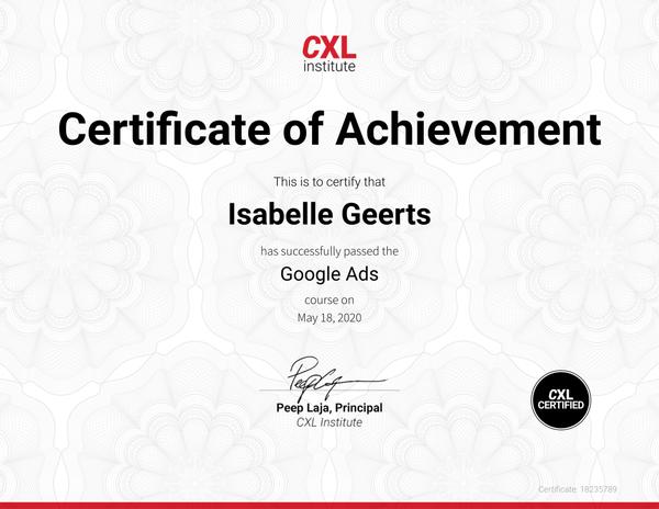 Certificaat Google Ads
