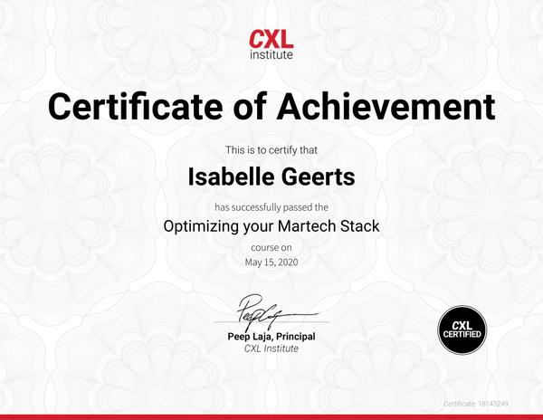 Certificaat Optimizing your Martech