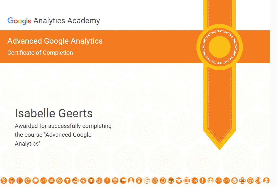Certificaat Google Analytics Advanced