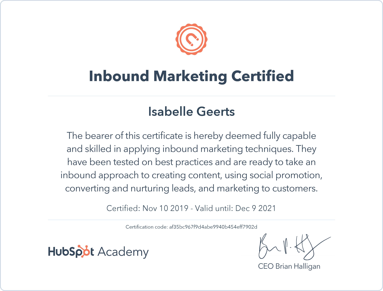 Certificaat Inbound Marketing Hubspot